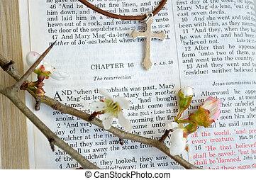 Paques, fleurs,  scripture, croix