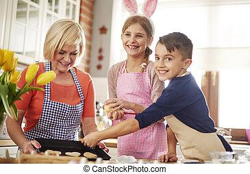 paques, heureux, cuisson, temps famille