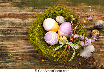paques, nid, oeufs, peint