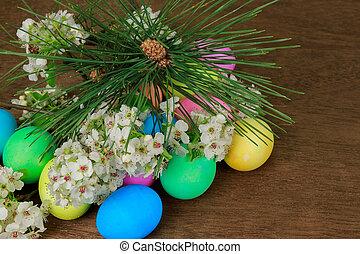Paques, oeufs, arbre, fleurir, branche