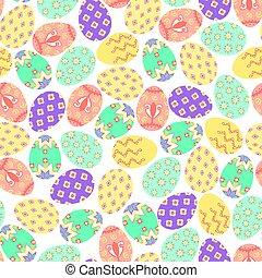 paques, pattern., seamless, arrière-plan., blanc, oeufs, coloré