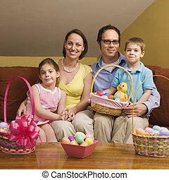 paques, portrait., famille
