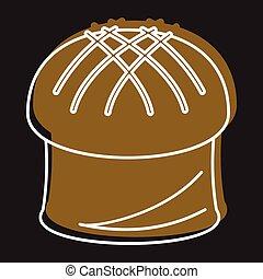 paques, tarte, boulangerie, produit, dans, griffonnage, style, icônes, vecteur, illustration, pour, conception