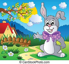 paques, thème, 5, lapin, image