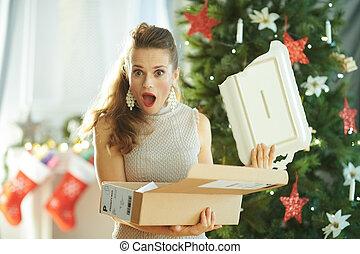paquet, arbre, femme foyer, cassé, plat, noël
