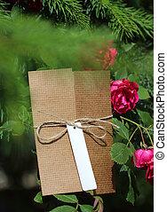 paquet, attaché, attaché, étiquette, adresse, blanc, ficelle