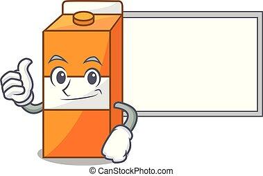 paquet, caractère, haut, jus, planche, dessin animé, pouces