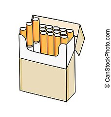 Dessin Paquet De Cigarette cigarettes, dessin animé, paquet.