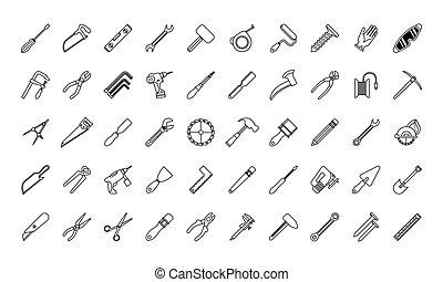 paquet, ensemble, icônes, outils, cinquante
