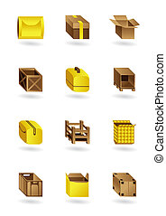 paquet, ensemble, icônes