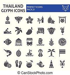 paquet, ensemble, thaïlande, collection, thaï, isolé, asie, croquis, symboles, solide, vecteur, arrière-plan., pictograms, signes, logo, blanc, icône, illustrations, glyph