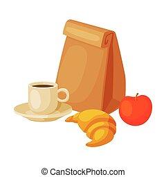 paquet, illustration, croissant, sain, tasse, café, pomme, sac, vecteur, petit déjeuner, papier