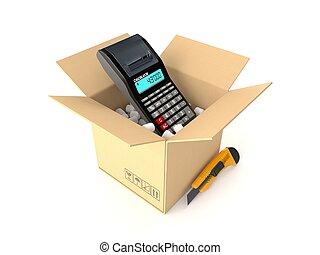 paquet, intérieur, calculatrice