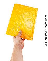 paquet, isolé, jaune, possession main, courrier, blanc