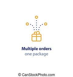 paquet, ordres, expédition, une, services livraison, options, combiné