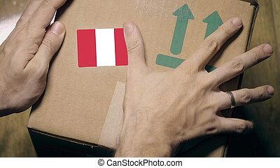 paquet, pérou, importation, label., exportation, ou, marquer, drapeau, péruvien