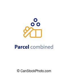 paquet, parameters, options, expédition, combiné, expédition, services