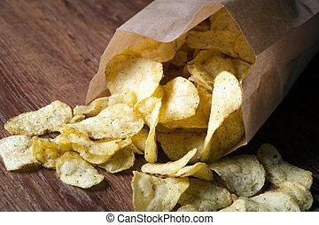 paquet, pomme terre frite, chips, dans, les, paquet