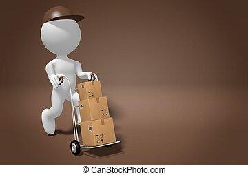 paquet, -, rendre, courrier, concept, 3d