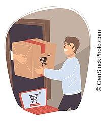 paquet, site, réception, mâle, toile, caractère