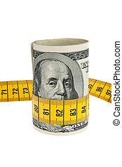 paquet, symbole, note, dollar, mètre à ruban, économie