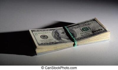 paquet, table, chutes, factures, dollar, blanc