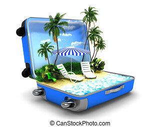 paquet, vacances plage