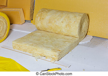 paquete, ático, amarillo, termal, papel, plano de fondo, aislamiento