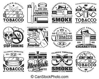paquete, cigarrillo, hoja, cigarro, tabaco, iconos, tubo