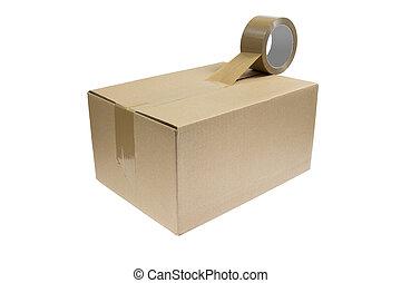 paquete, con, cinta conducto