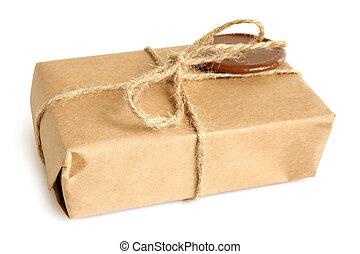 paquete, con, lacre