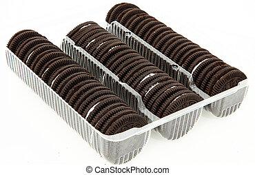 paquete, de, galletas del chocolate, con, crema, relleno