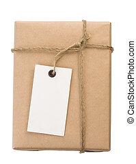 paquete, envuelto, envueltas, caja, y, etiqueta, blanco