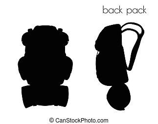 paquete espalda, silueta, blanco, plano de fondo