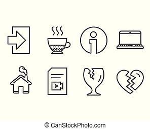 paquete, frágil, arriba, icons., interrupción, cuaderno, doppio, archivo, vídeo, entrada, signs.