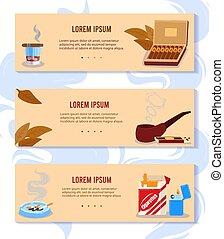 paquete, fumador, tabaco, plano, cigarros, caja, cigarrillos, accesorios, caricatura, bandera, colección, fumar, ilustración, vector
