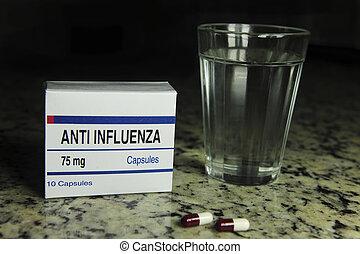 paquete, gripe, cristal del agua, anti, píldora