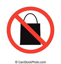 paquete, haga no, bolsa,  no, cualquier cosa, prohibición, traer,  vector, bolsa, traer, acción