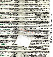 paquete,  U,  S, dólares, droga, Plano de fondo, encima