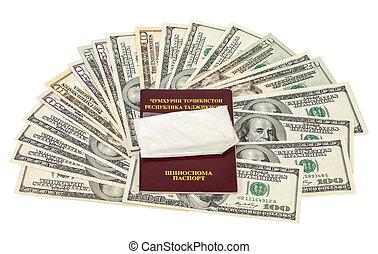 paquete,  U,  S, encima, droga, pasaporte,  Tajikistan, dólares