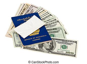 paquete, u..s.., dólares, droga, pasaporte, afgano, encima
