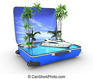 paquete, vacaciones de playa, concepto, yaht