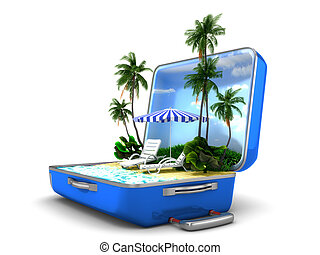 paquete, vacaciones de playa