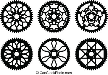 paquete, vector, chainrings