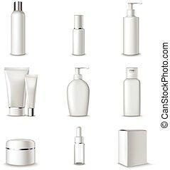 paquetes, conjunto, cosméticos