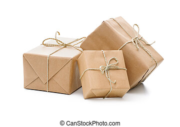 paquetes, envuelto, con, papel marrón