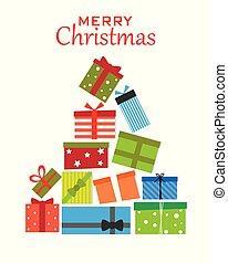 paquets, arbre, noël don
