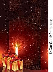 paquets, bougie, cadeau, lumière