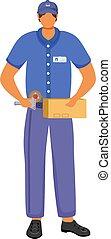 paquets, couleur, service, blanc, homme poteau, colis, bureau, dessin animé, fond, isolé, caractère, ouvrier, mâle, uniforme, bleu, delivery., crosse, illustration., sending., plat, bande, vecteur
