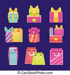 paquets, ensemble, cadeau